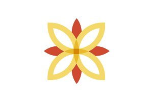 Red and gold flower logo