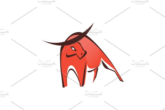 Stylish Red Bull Logo Symbol