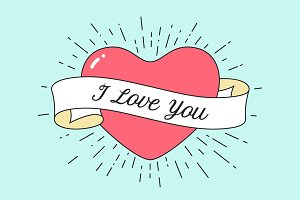 Old ribbon with message I Love You