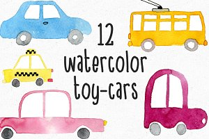 Watercolor Toy-Cars