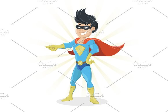 Young Super Hero Showing Finger