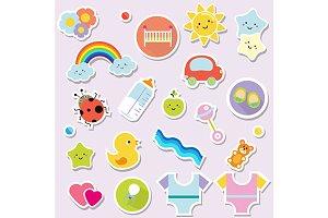 Baby, kids, children stickers