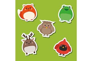 Cute forest animals stickers