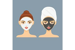 Woman with cosmetic facial mask