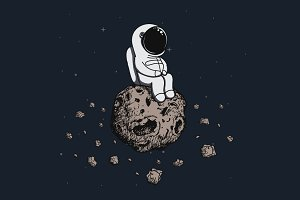 Astronaut travel on asteroid