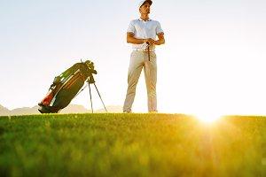Professional golfer standing