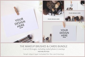 MAKEUP BRUSHES & CARDS BUNDLE