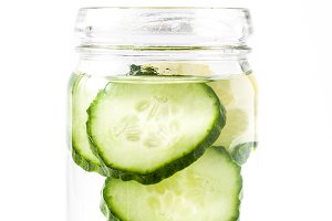 Water with cucumber and lemon
