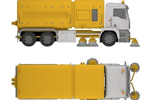 sweep street truck isolated on white 3d rendering