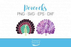 Peacock SVG Cut Files and Clipart