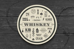 Coaster for whiskey and alcoholic beverages