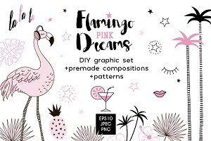 Flamingo dreams clip arts/patterns