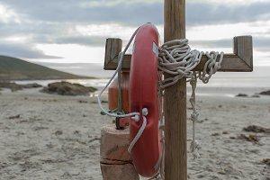 Lifebuoy on the beach.