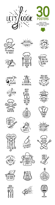 Kitchen posters collection illustrations creative market buycottarizona Choice Image