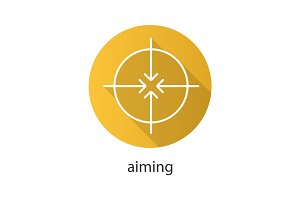 Aiming flat linear long shadow icon