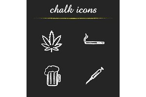 Bad habits chalk icons set