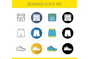 Basketball player's uniform icons set