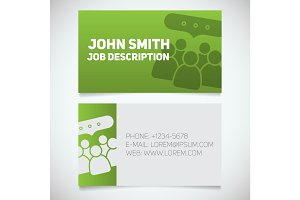 Business card print template with meeting logo