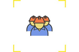 Mine workers color icon