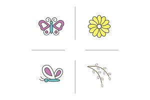 Spring color icons set