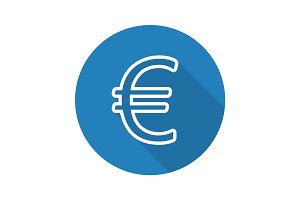 Euro currency sign. Flat linear long shadow icon