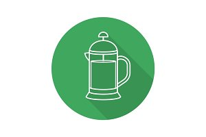 French press flat linear long shadow icon