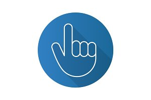 Attention hand gesture. Flat linear long shadow icon