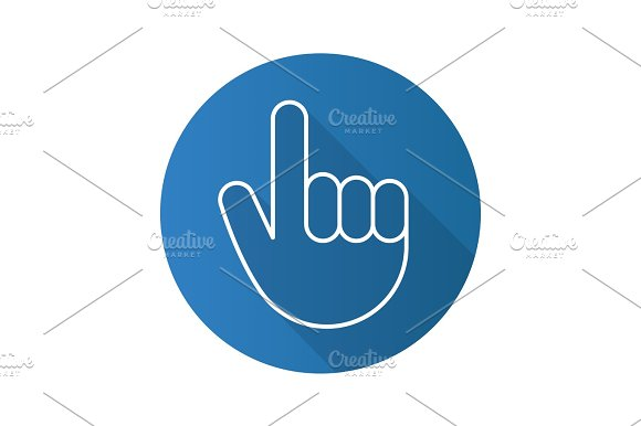 Attention Hand Gesture Flat Linear Long Shadow Icon