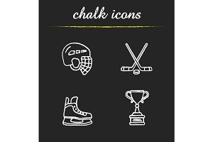 Hockey equipment chalk icons set