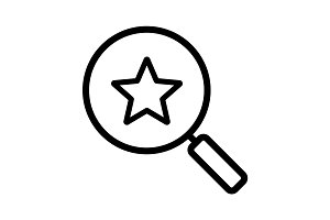 Magnifying glass with star linear icon