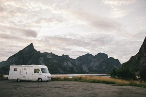Camping in front of hills