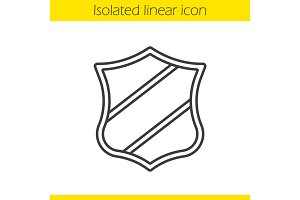 Shield with ribbon linear icon