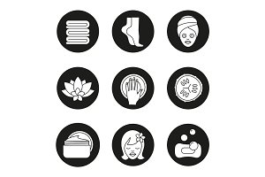 Spa salon procedures icons set