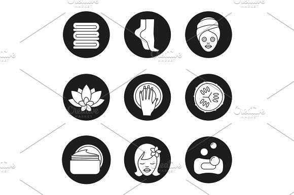 Spa salon procedures icons set