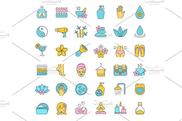 Spa salon color icons set
