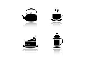 Tea and coffee drop shadow black icons set