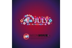 Glowing Neon 4th July Sign