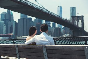 Couple enjoying Brooklyn Bridge view