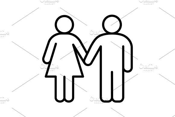 Heterosexual Couple Linear Icon