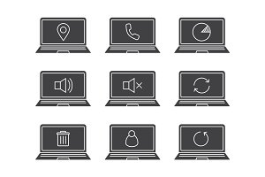 Laptops glyph icons set