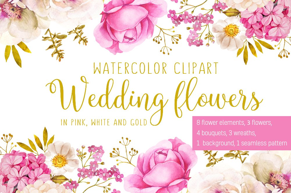 Wedding Flowers In Pink And Gold Illustrations Creative Market