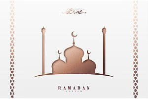 Ramadan greeting card with arabic calligraphy Ramadan Kareem. Islamic background with mosques