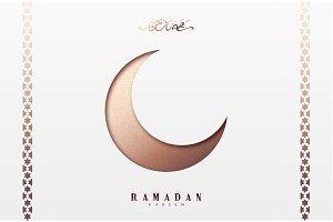 Month Ramadan greeting card with arabic calligraphy Ramadan Kareem. Islamic background half a month