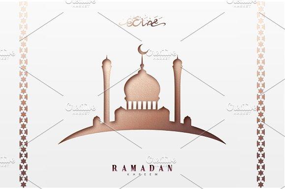 Ramadan Greeting Card With Arabic Calligraphy Ramadan Kareem Islamic Background With Mosques