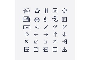 A collection of abstract wayfinding pictograms