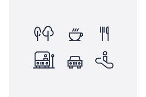 A collection of abstract wayfinding pictograms flat design