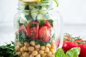 vegetarian salad of chickpeas