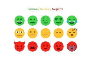 Feedback emoticon flat design icon set