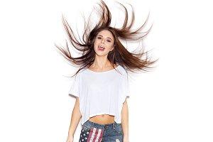 Beautiful girl shaking her hair
