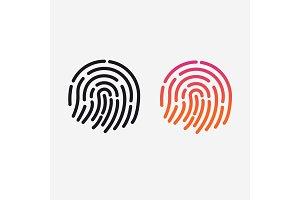 ID app icon. Vector set. Fingerprint for identification. Flat line illustration
